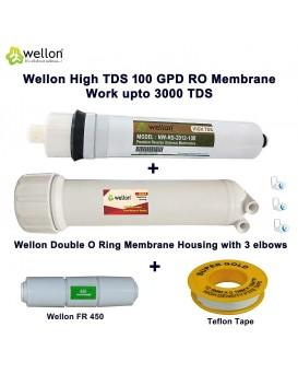 Wellon 100 GPD HIGH Tds Membrane with Wellon Membrane Housing + 450 FR + Teflon Tape