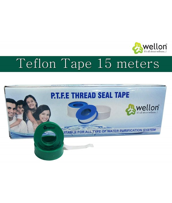 Wellon Teflon Tape PTFE Thread seal Tape 12 mm x 15 meters for Plumbing, Pipe Fittings, fix Water leakage, Protects thread, giving required tightness for Aquarium, Water tanks, Taps (Green,Pack of 10)