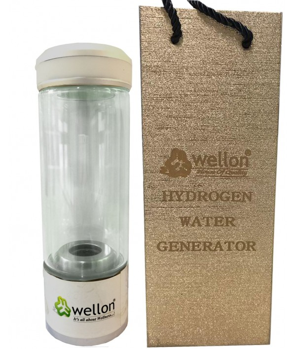 WELLON SPE PEM Hydrogen Generator Water Bottle SPE PEM Technology Ionizer High Concentration Discharge Ozone and Chlorine. (Silver)