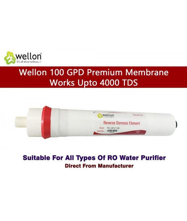 Wellon Premium Membrane Solid Filter Cartridge Works Upto 4000 TDS for All Kind of Domestic Water Purifier Systems 12 Inches (100 GPD)