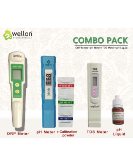 Wellon ORP Meter, TDS Meter, pH Meter and pH Liquid Drop for Water Testing - Combo Pack of 4