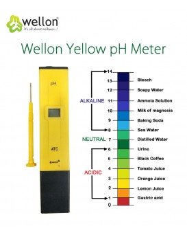 WELLON Digital LCD Pocket Pen Type Ph Meter for Water Purity Pool Aquarium Measurement, Yellow