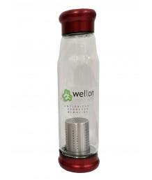 ANTIOXIDANT ALKALINE GLASS WATER BOTTLE BPA FREE & HYGIENIC 650 ml (Red)