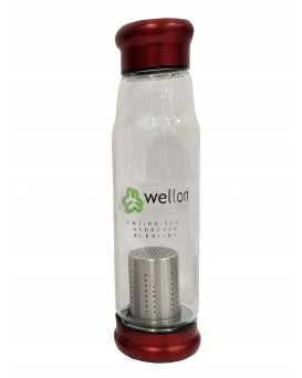 ANTIOXIDANT ALKALINE GLASS WATER BOTTLE BPA FREE & HYGIENIC 650 ml (Red)