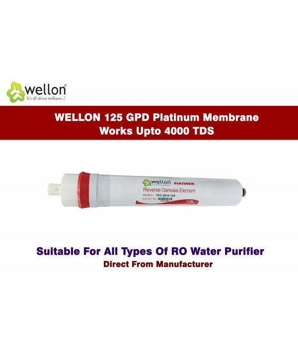 Wellon Platinum Membrane Solid Filter Cartridge Works Upto 4000 TDS for All Kind of Domestic Water Purifier Systems 12 Inches (125 GPD)
