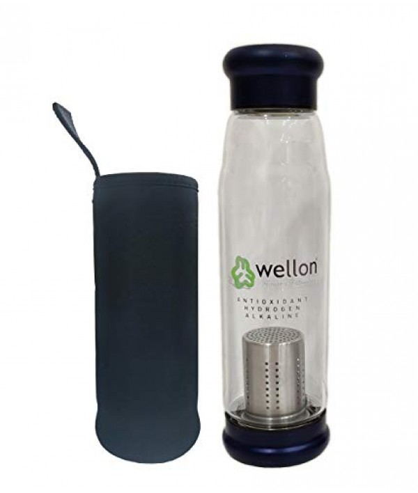 WELLON ANTIOXIDANT ALKALINE GLASS WATER BOTTLE BPA FREE & HYGIENIC and Portable Carry Case – 650ml (Blue)