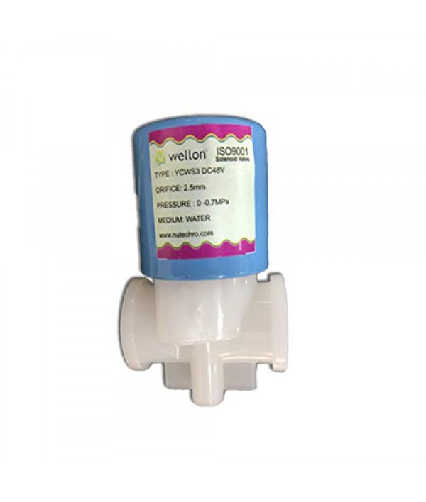 Wellon Blue High Quality 48V DC Solenoid Valve Suitable for All Types of RO Water Purifier (Thread Type) with connectors