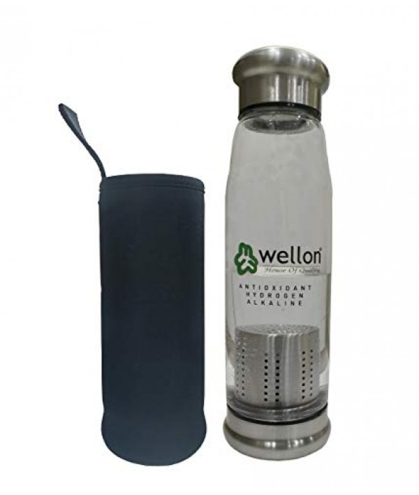 WELLON ANTIOXIDANT ALKALINE GLASS WATER BOTTLE BPA FREE & HYGIENIC and Portable Carry Case – 650ml (Silver)