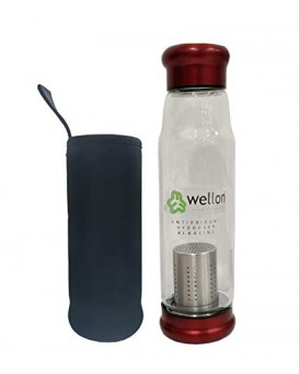WELLON ANTIOXIDANT ALKALINE GLASS WATER BOTTLE BPA FREE & HYGIENIC and Portable Carry Case – 650ml (Red)
