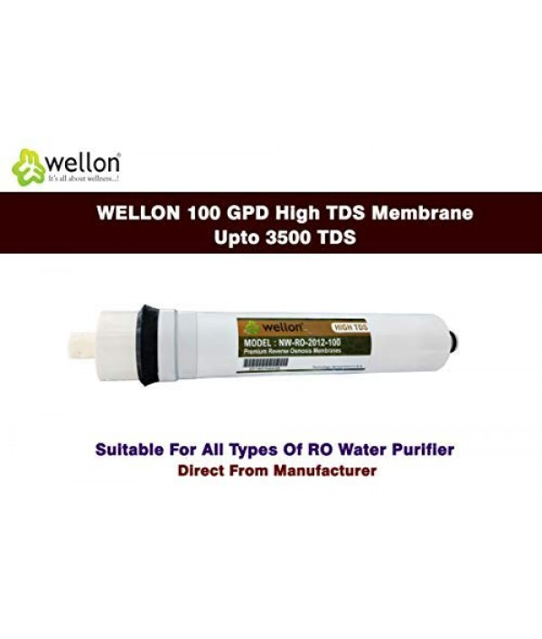WELLON 100 GPD High TDS Membrane Upto 3500 TDS Suitable for All Types of ro Water Purifier