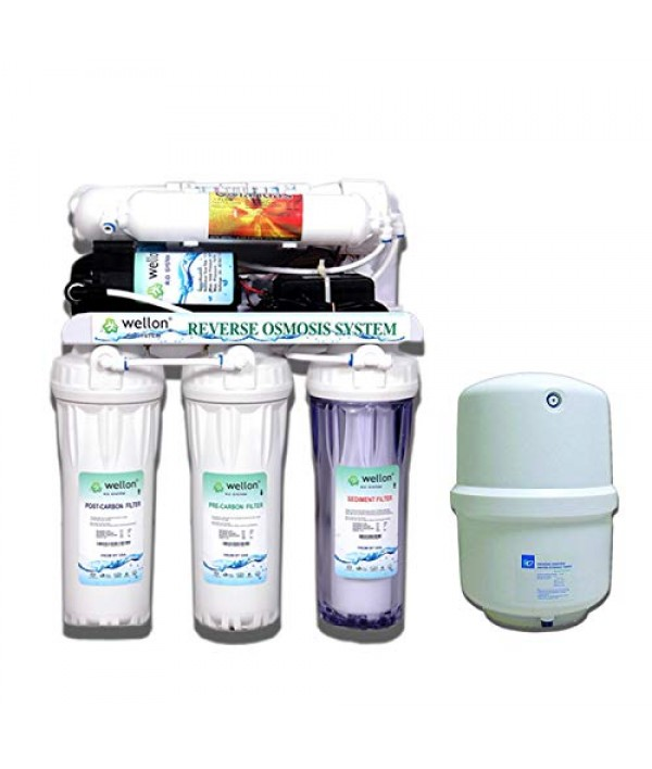 Wellon 10LPH Under-Sink RO+ Alkaline Water Purifier + Kemflo Pressure Storage Tank - 10 Ltrs