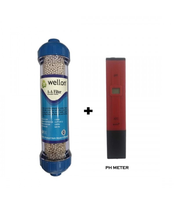 WELLON Antioxidant Alkaline Mineral Filter with Bioceramic ORP Balls & pH Booster + WELLON Digital Portable pH Meter with LCD Monitor (Red) by Wellon