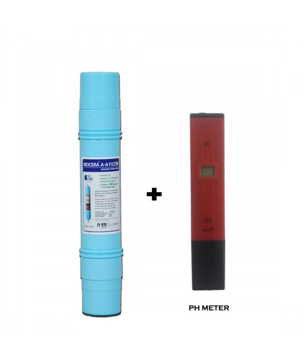 Biocera Alkaline Filter + Wellon Digital pH Meter Tester with LCD Monitor for All Water Purifier.