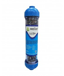 WELLON Anti-Oxidant Alkaline Filter 10 in 1 with pH Increase, Micro Clustering & ORP Reduction Suitable for All Types of Water purifiers.