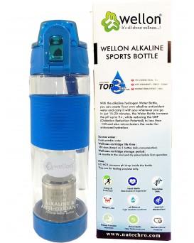 WELLON Gold Alkaline Hydrogen Sports Water Bottle For Healthy Drinking Water (Blue)