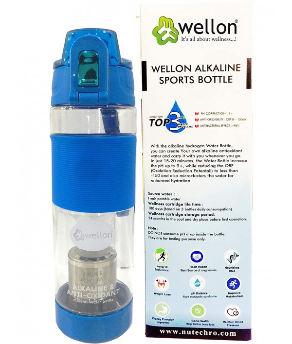 WELLON Gold Alkaline Hydrogen Sports Water Bottle For Healthy Drinking Water (Blue)