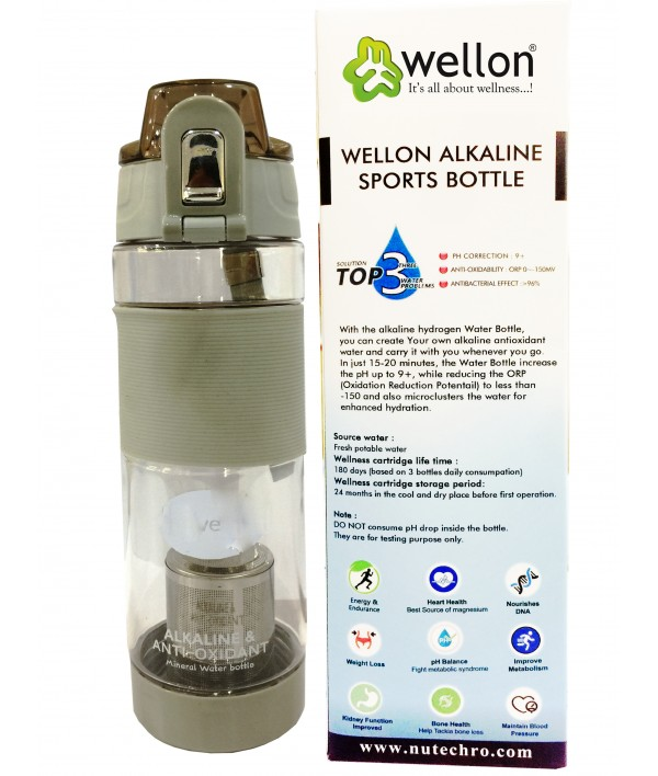 WELLON Gold Alkaline Hydrogen Sports Water Bottle for Healthy Drinking Water (Grey)