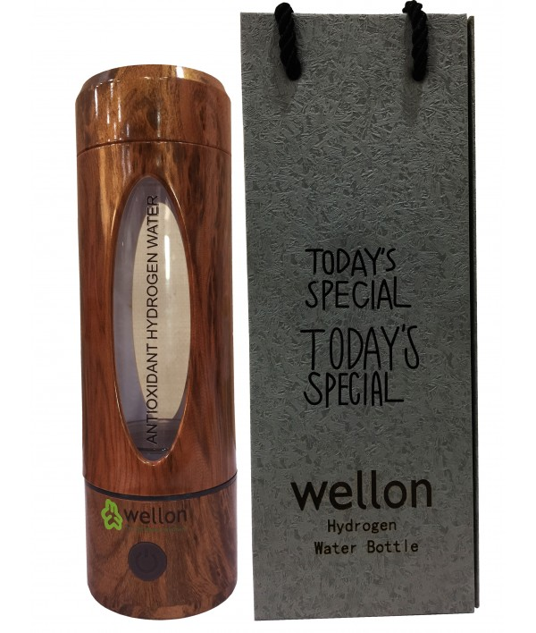 WELLON Hydrogen Generator Water Bottle SPE/PEM + Exhaust Hole Wooden Shade (3rd Gen) Ionizer High Concentration Discharge Ozone and Chlorine (330 ml)