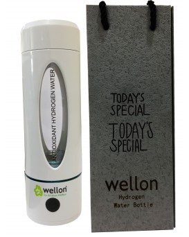 WELLON Hydrogen Generator Water Bottle SPE/PEM + Exhaust Hole (3rd Gen) Ionizer High Concentration Discharge Ozone and Chlorine with White Anti-Break Coating(330 ml)