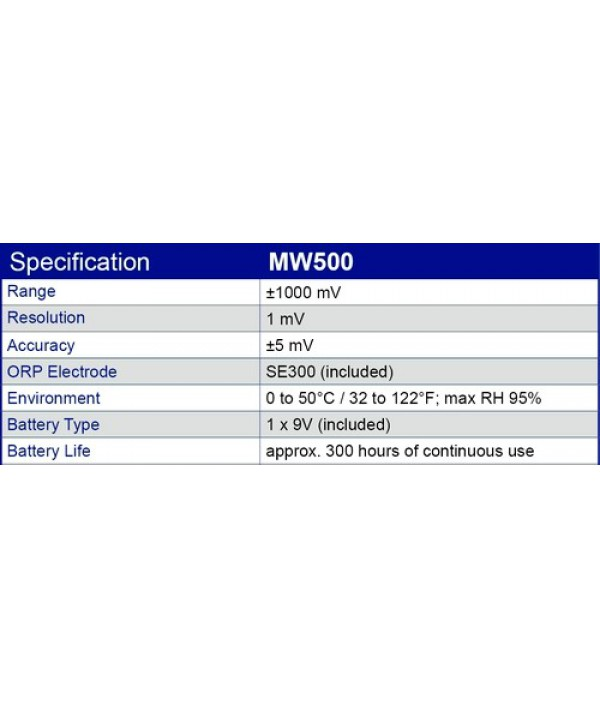Milwaukee MW500 LED Economy Portable ORP Meter with Platinum Electrode, +/-1000mV and 1mV Resolution and +/-5mV AccuracyLED Economy Portable ORP Meter with Platinum Electrode, +/-1000mV and 1mV Resolution and +/-5mV Accuracy