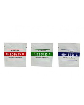 Wellon 3 Pcs Ph Buffer Solution Powder Ph Test Meter Measure Calibration