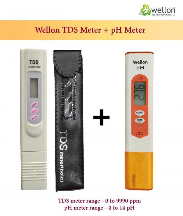 WELLON High Quality Water Tester TDS Meter + Orange pH Meter
