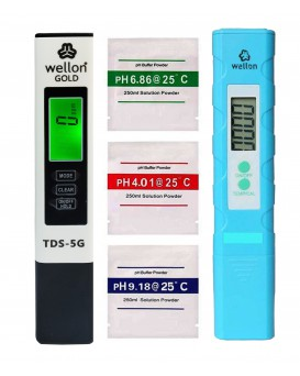 Wellon Gold 5G TDS Meter and pH Meter Combo, 0.05ph High Accuracy Pen Type pH Meter +/- 2% Readout Accuracy 3-in-1 TDS Temperature Meter