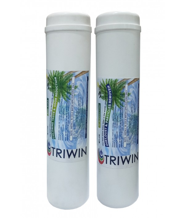 TRIWIN Post Carbon Filter and PP Sediment Filter Inline Set for Ro Water Purifier