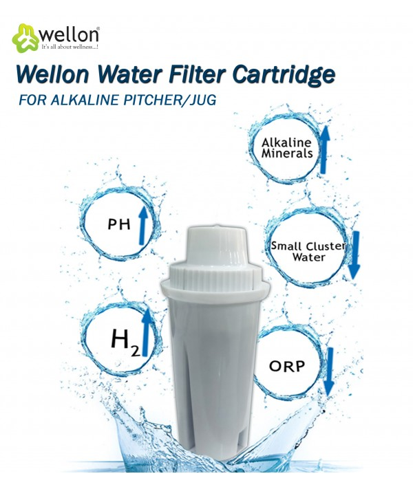 Wellon Alkaline Pitcher Ionizer Antioxidant Filtered Water Jug Cartridge (Vertical)