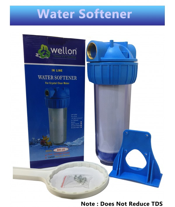 "WELLON 10 inch Transparent Standard Crystal Clear Water Softener Filter Housing Bathroom Water Filter with Presser Relief Button and 3/4"" Inlet/Outlet Brass Port, Mounting Hardware Included set"